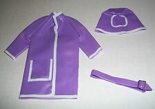 VINTAGE FASHION DOLL 1/6 SCALE CLONE LAVENDER PURPLE RAINCOAT HAT & RARE BELT