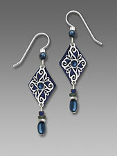 Adajio Navy BLUE Diamond Shaped EARRINGS Sterling Silver Dangle - Gift Boxed