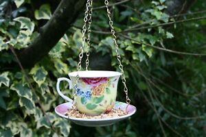 Hanging China Floral Tea Cup Bird Feeder. Wildlife Garden.
