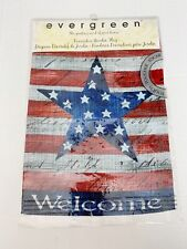"""Evergreen Welcome Patriotic Flag Star Garden Flag 12"""" X 18"""" Two Sided"""