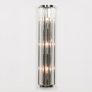 Art Deco style Chrome Finish Fluted Column Glass Rods Wall Light 71CM Tall