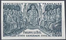 PHILIPPE LE BEL N°1577 ESSAI COULEUR NN DENTELÉ GRIS/BLEU PROOF 1968 NEUF ** MNH