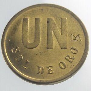 1981 Lima Peru Un One 1 Sol De Oro  KM# 266.2 Uncirculated Coin Brass V854