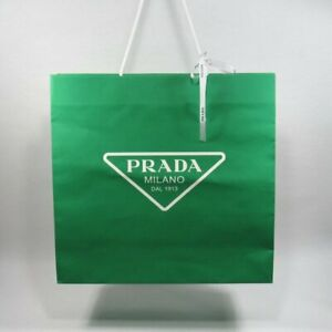 "PRADA Shopping Bag Green Dimensions Approx. 16 1/2"" x 16 3/4"" x 5 1/2"""