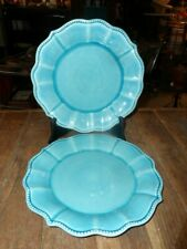 "315==2=PIONEER WOMAN 10.5"" DINNER PLATES TEAL BLUE GREAT COND."
