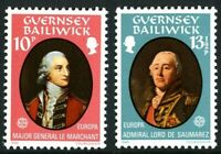 GUERNSEY 1980 EUROPA PERSONALITIES BOTH COMMEMORATIVE STAMPS MNH (D)