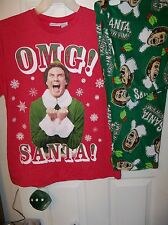 The Elf Will Ferrell Christmas Pajama Pants Lounge PJ 2 Piece Set Mens Small NWT