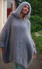 M-XXXL  Premium Mohair Sweater whith Hoodie hand knit Light Gray