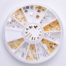 Mixed 3D Nail Art Decoration Wheel Alloy Bar Stud Rhinestone Manicure DIY