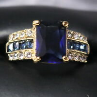 Sparkling Princess Blue Sapphire Ring Women Engagement Jewelry 14K Rose Gold