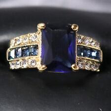 Sparkling Princess Blue Sapphire Ring Women Engagement Jewelry 14K Rose Gold