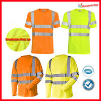L&M Hi Vis T Shirt ANSI Class 3 Reflective Tape Safety Long Short Sleeve