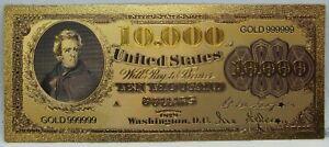 "$10000 1878 Legal Tender Novelty 24K Gold Foil Plated Note Bill 6"" LG320"