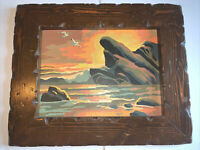 """Vintage Paint By Number Beach Scene  Sunset Seagulls 16x13"""" W Frame  Midcentury"""