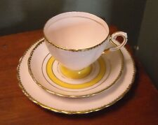 Vintage Tuscan English Fine Bone China Trio Pink & Yellow Gold Trim 3 Pieces