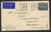 1945 5½d Gloucester on Airmail cover to the UK MS254