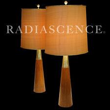 GERALD THURSTON LIGHTOLIER ATOMIC MODERN BRASS WALNUT SPEED CONE TABLE LAMPS '50