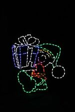 Elf Carrying Gift LED metal wire frame light yard lawn display