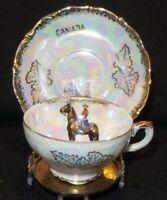Vintage Canadian Cavalier Iridescent Lustre Demitasse Tea Cup and Saucer Japan