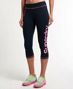 Ladies Superdry Sport Cropped Leggings | Blue & Pink | Size Small | BNWT