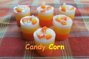 6 ~ CANDY CORN Scented Prim Thanksgiving Halloween Candy Fall Votive Candles
