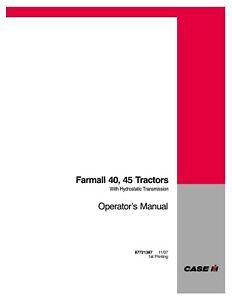 CASE FARMALL 40 FARMALL 45 TRACTOR OPERATORS MANUAL