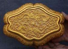 "8"" Old China Dynasty Copper Gild Gilt Two Dragon Beast casket Jewelry Jewel Box"