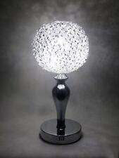 Silver LED Crystal Jewel Gem Diamante Wire Globe Sphere Table Desk Lamp Modern