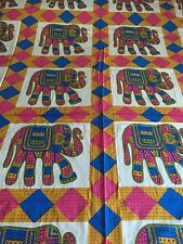 INDIAN 100% COTTON DOUBLE SIZE PINK/TURQUOISE ROWS OF ELEPHANTS PRINT BEDSPREAD
