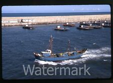 May 1971  kodachrome photo slide Barcelona Harbor Spain  Fishing boat ship