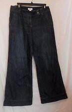 Ann Taylor Loft Size 4 Wide leg Blue Jeans 100% cotton Denim
