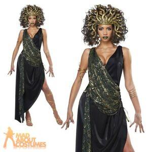 Ladies Medusa Costume Snakes Greek Myth Halloween Fancy Dress Outfit Womens