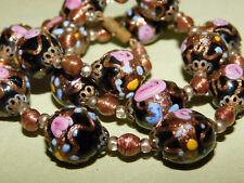 Rare vintage Halskette Gablonz Glasperlen mit passenden Ohrclips