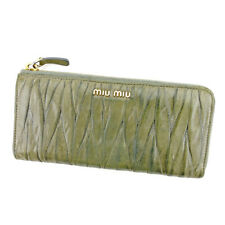 miumiu Wallet Purse Long Wallet Materasse Green Gold Woman Authentic Used T5180