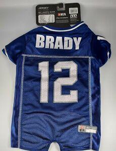 Tom Brady #12 New England Patriots Licensed NFLPA Dog Jersey Navy, Sizes XS-XL