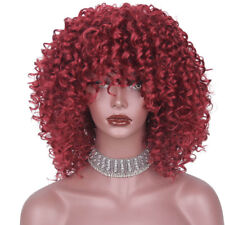 Short Afro Curly Wig Mix Blonde Wig with Bangs Synthetic Women Wig Cosplay Wig