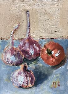 Still Life with Garlic and Tomato original oil painting Impressionism