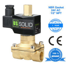 """U.S. Solid 1/2"""" Brass Electric Solenoid Valve 24V AC Normally Open Air Water Oil"""