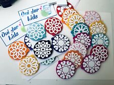 12 Ornamental Lids For Oui Yogurt Jars + 12 labels