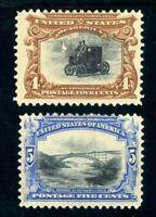 USAstamps Unused FVF US 1901 Pan-American Scott 296, 297 OG MHR