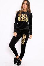 UK 2PC Womens Slogan Velvet Velour LoungeWear Sweatshirt Joggers Tracksuit Top