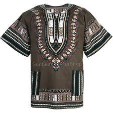 Cotton African Dashiki Mexican Poncho Hippie Tribal Boho Shirt Khaki Ad19k