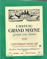 ST EMILION GCC ETIQUETTE CHATEAU GRAND MAYNE 1991   1.50 L           §24/02/17§