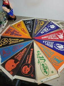 Vintage 1970's NFL Football Mini Pennants Lot steelers , Colts , NY Jets/Oilers