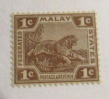 MALAYA  Sc #39 * MH 1¢ postage stamp, Tiger, Fine +