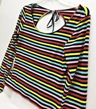 C. RONSON Top Candy Stripe Multi Color Scoop Neck Back Tie Bow Long Sleeve SZ M
