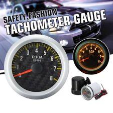 2'' 52mm LED Tacho Gauge Meter Tachometer Carbon Fiber 0-8000RPM 4 6 8 Cylinder