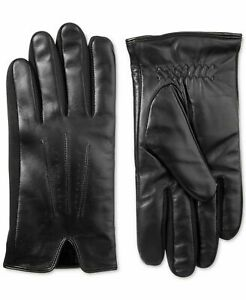 Isotoner Men's Leather Smartouch Touchscreen Classic Winter Gloves, Black M