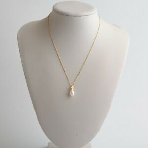 AUTH BNWT Tory Burch Gold/Ivory Kira Pearl Pendant Necklace