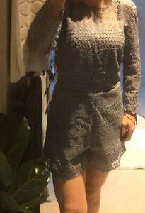Brand New Bardot Blue Lace Playsuit Romper Size S 10